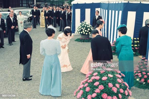 Emperor Akihito, Empress Michiko and Princess Sayako are welcomed by Prince Hitachi, Princess Hanako of Hitachi, Prince Mikasa and Princess Yuriko of...