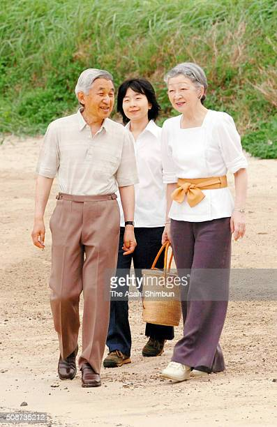 Emperor Akihito Empress Michiko and Princess Sayako strolls outside the Suzaki Imperial Villa on July 25 2005 in Shimoda Shizuoka Japan