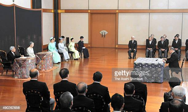 Emperor Akihito Empress Michiko and royal family members attend the 'KoshoHajimenoGi' or first lecture of the year ceremony at the Imperial Palaceon...
