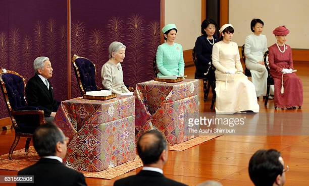 Emperor Akihito Empress Michiko and royal family members attend the 'UtakaiHajimenoGi' New Year's Poetry Reading ceremony at the Imperial Palace on...
