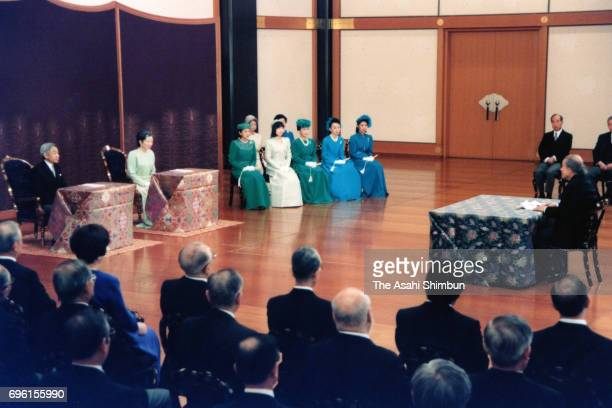 Emperor Akihito Empress Michiko and royal family members attend the 'KoshoHajimenoGi' new lecture of the New Year at the Imperial Palace on January...
