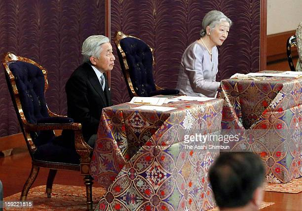 Emperor Akihito Empress Michiko attend 'Kosho Hajime no gi' or first lecture of the year ceremony at the Imperial Palace on January 10 2013 in Tokyo...