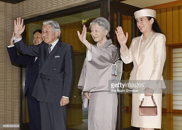 Emperor Akihito Empress Michiko Crown Prince Naruhito and Crown Princess Masako see off King WillemAlexander and Queen Maxima of the Netherlands...