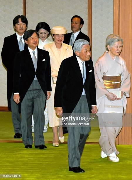 Emperor Akihito Empress Michiko Crown Prince Naruhito Crown Princess Masako Prince Akishino and Princess Kiko of Akishino attend a tea party inviting...