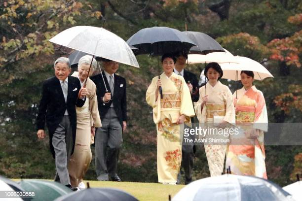 Emperor Akihito Empress Michiko Crown Prince Naruhito Crown Princess Masako Prince Akishino Princess Kiko of Akishino Princess Mako of Akishino walk...