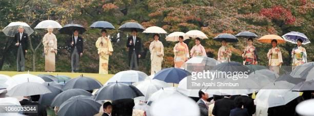 Emperor Akihito, Empress Michiko, Crown Prince Naruhito, Crown Princess Masako, Prince Akishino, Princess Kiko of Akishino, Princess Mako of...