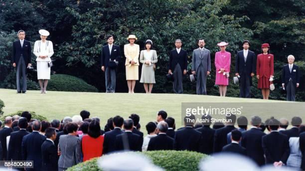 Emperor Akihito Empress Michiko Crown Prince Naruhito Crown Princess Masako Princess Sayako Prince Mikasa Prince Tomohito of Mikasa Princess Nobuko...