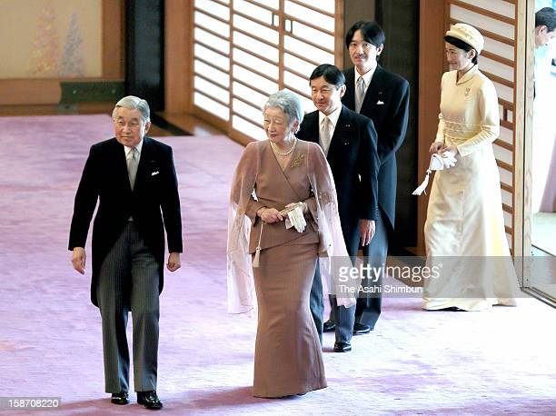 Emperor Akihito Empress Michiko Crown Prince Naruhito Prince Akishino and Princess Kiko of Akishino attend the tea ceremony to celebrate his 79th...