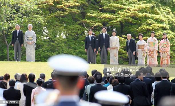 Emperor Akihito, Empress Michiko, Crown Prince Naruhito, Prince Akishino, Princess Kiko of Akishino, Prince Hitachi, Princess Hanako of Hitachi,...