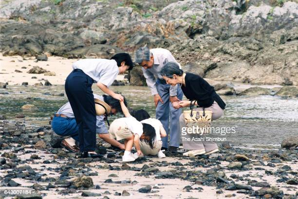 Emperor Akihito Empress Michiko Prince Akishino Princess Kiko Princess Mako and Princess Kako spend at a beach near the Suzaki Imperial Villa on...