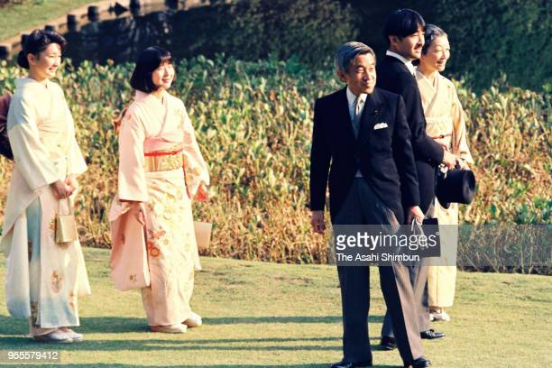 Emperor Akihito Empress Michiko Prince Akishino Princess Kiko of Akishino and Princess Sayako attend the garden party celebrating emperor's...