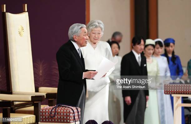 Emperor Akihito gives his final speech to the public during the 'Taiirei Seiden no Gi' abdication ceremony at the Imperial Palace on April 30 2019 in...