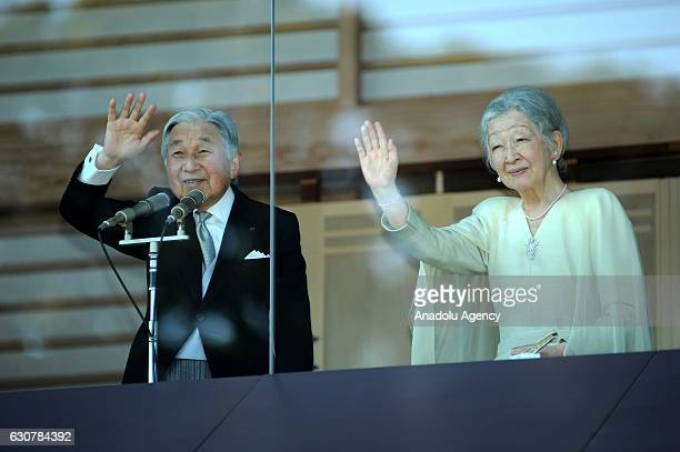 Emperor Akihito in presence of Empress Michiko and Japan's Royal Family salutes the people came to visit the Imperial Palace which was opened for the...