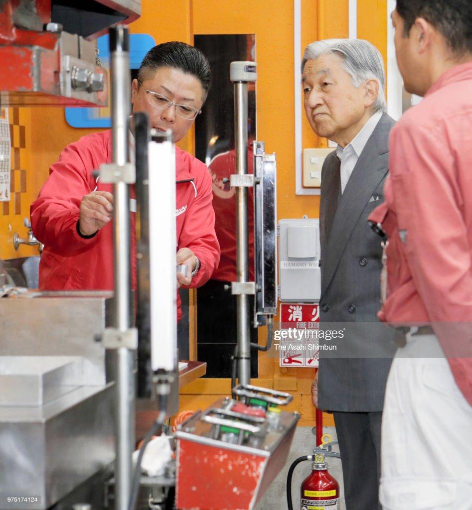 Emperor Akihito Visits Small Factories In Tokyo