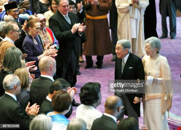 Emperor Akihito is celebrated his 84th birthday by guests along with Empress Michiko during a tea party at the Imperial Palace on December 23 2017 in...