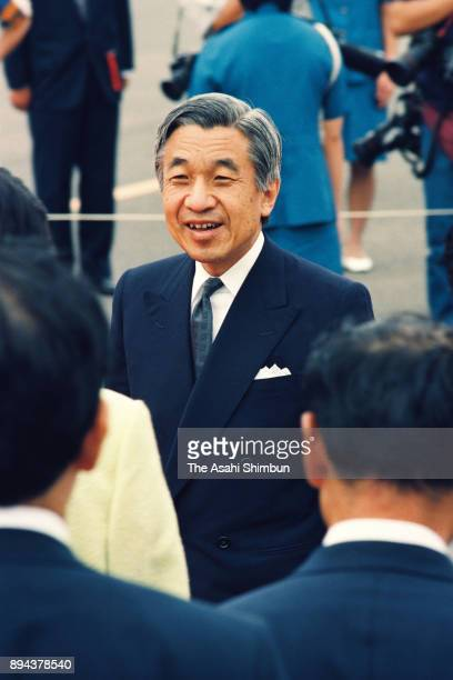 Emperor Akihito is seen on arrival at Haneda Airport after visiting Europe on September 19 1993 in Tokyo Japan