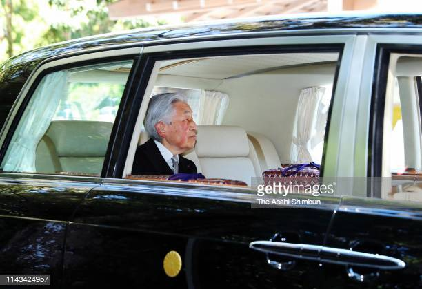 Emperor Akihito leaves the Geku, outer shrine at Ise Shrine on April 18, 2019 in Ise, Mie, Japan. The emperor will abdicate at the end of this month.