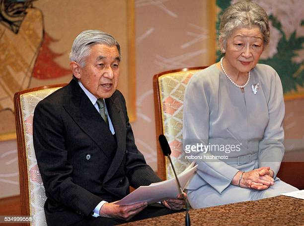 Emperor Akihito left speaks to the media as Empress Michiko looks on during a news conference at the Imperial Palace in Tokyo Japan Friday Nov 6 2009