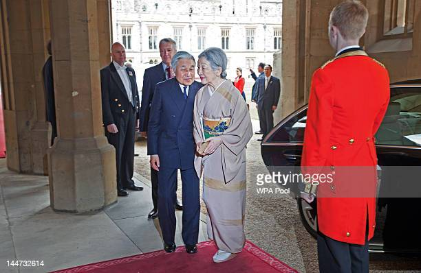 Emperor Akihito of Japan and Empress Michiko of Japan arrive at a lunch For Sovereign Monarchs in honour of Queen Elizabeth II's Diamond Jubilee at...