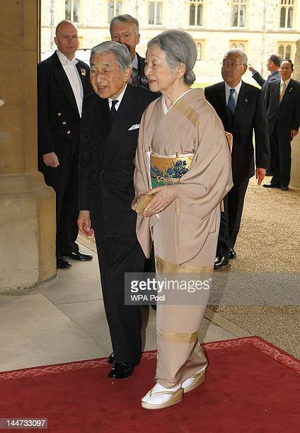 Emperor Akihito of Japan and Empress Michiko of Japan arrive for a lunch for Sovereign Monarchs in honour of Queen Elizabeth II's Diamond Jubilee at...