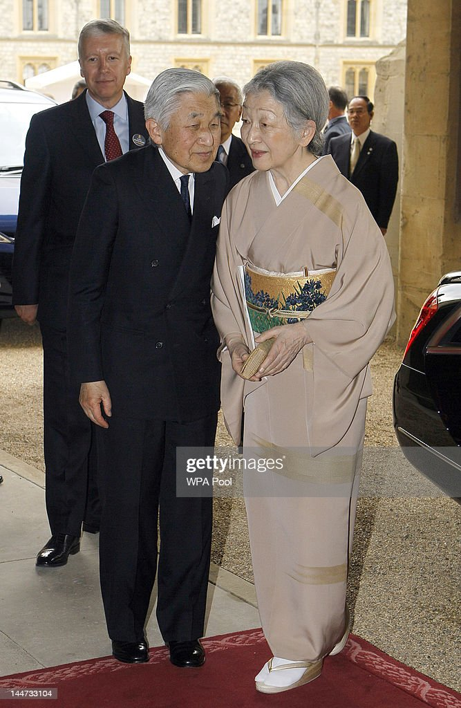 Emperor Akihito of Japan and Empress Michiko of Japan arrive for a lunch for Sovereign Monarchs in honour of Queen Elizabeth II's Diamond Jubilee, at Windsor Castle, on May 18, 2012 in Windsor, England.