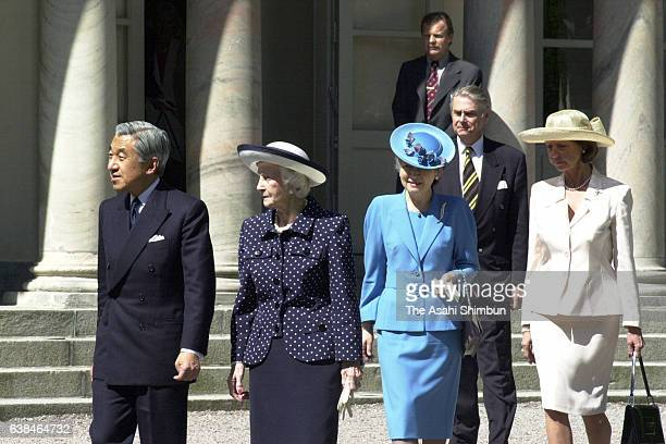 Emperor Akihito of Japan, Princess Lilian of Sweden, Empress Michiko and Princess Desiree of Sweden leave for the Royal Mews prior to the parade as a...