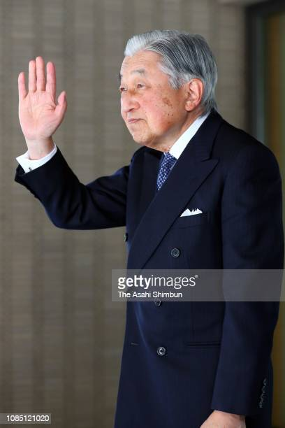 Emperor Akihito sees off Zambian President Edgar Lungu after their meeting at the Imperial Palace on December 19 2018 in Tokyo Japan