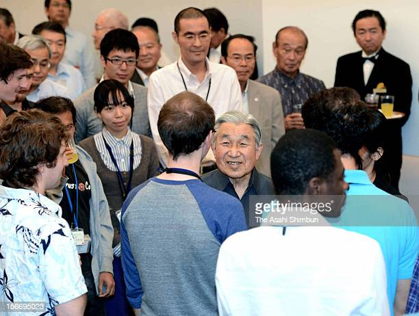 Emperor Akihito speaks to the students at the Okinawa Institute of Science and Technology graduate University on November 19, 2012 in Onna, Okinawa,...