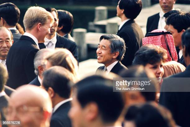 Emperor Akihito talks with Crown Prince WillemAlexander of the Netherlands during the garden party celebrating his Enthronement at the Akasaka...