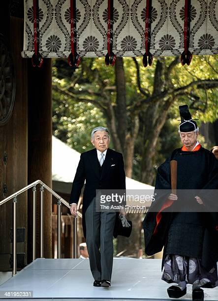 Emperor Akihito visits Meiji Jingu Shrine on April 2, 2014 in Tokyo, Japan. The royal family visit the shrine to mark the centennial anniversary of...