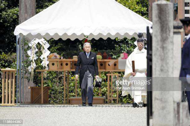 Emperor Akihito visits the mausoleum of Emperor Jimmu to report his abdication on March 26, 2019 in Kashihara, Nara, Japan.