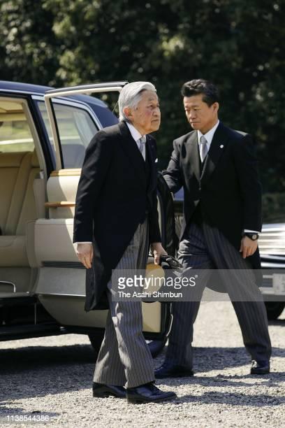 Emperor Akihito visits the mausoleum of Emperor Jimmu to report his abdication on March 26, 2019 in Kashihara, Nara, Japan.