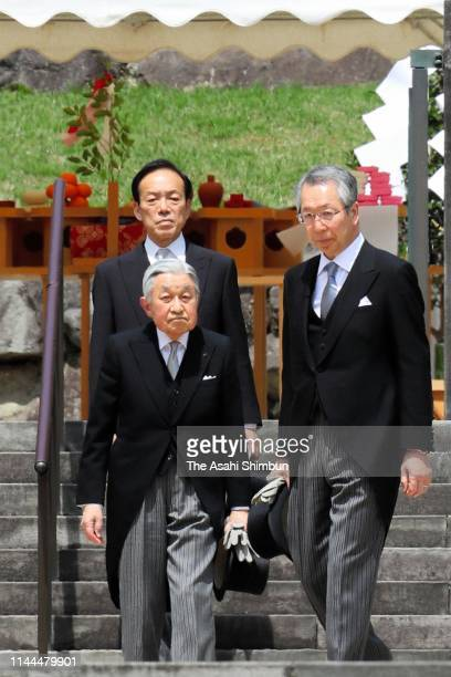 Emperor Akihito visits the Mausoleum of Emperor Showa, or Emperor Hirohito, to report his abdication at the Musashi Imperial Graveyard on April 23,...