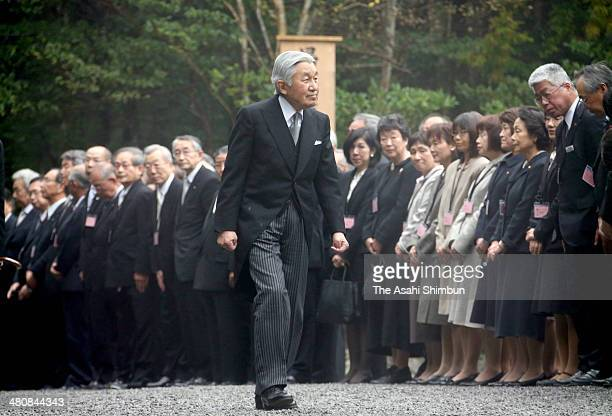 Emperor Akihito walks to Naiku, inner shrine during his visit to Ise Shrine on March 26, 2014 in Ise, Mie, Japan. The Imperial Regalia or 'Sanshu no...