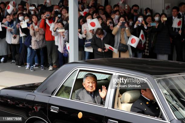 Emperor Akihito waves to well-wishers at Kyoto Station on their way back to Tokyo on March 28, 2019 in Kyoto, Japan.