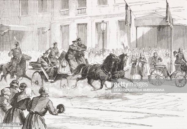 Emperor Alexander II Romanov riding through the streets of St Petersburg after the assassination attempt by the revolutionary Aleksandr Soloviev...