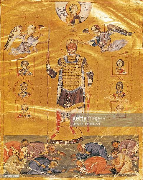 Emperor Basil II miniature from a Psalter page Greek manuscript 10th Century