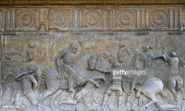 Emperor Charles V at the Battle of Pavia in 1525 Relief by Niccolo Da Corte 1547 Facade of Palace of Charles V Granada Andalusia Spain Renaissance...