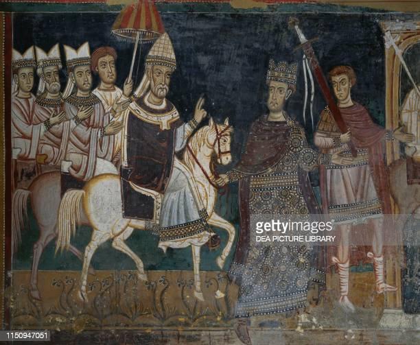 Emperor Constantine and Pope Sylvester I entering Rome fresco in St Sylvester Oratory, inside Santi Quattro Coronati Basilica , Rome, Lazio, Italy,...