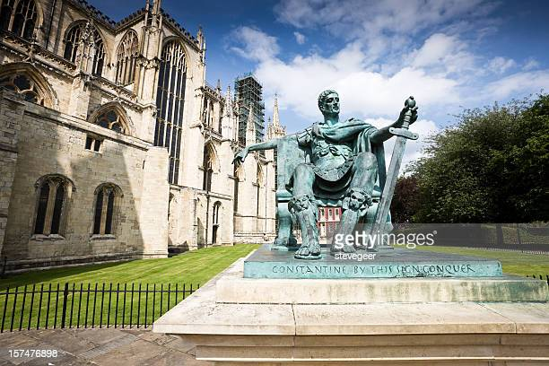 emperor constantine statue in york - york minster stock photos and pictures