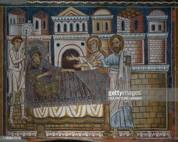 Emperor Constantine, suffering from leprosy, dreaming of St Peter and St Paul fresco in St Sylvester Oratory, inside Santi Quattro Coronati Basilica...