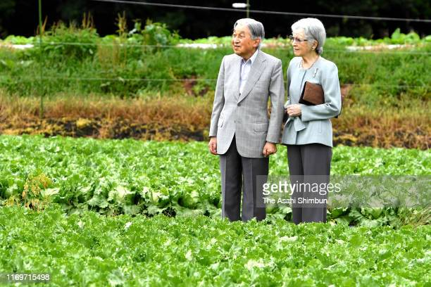 Emperor Emeritsu Akihito and Empress Emerita Michiko stroll the Ohinata Settlement on August 23, 2019 in Karuizawa, Nagano, Japan.
