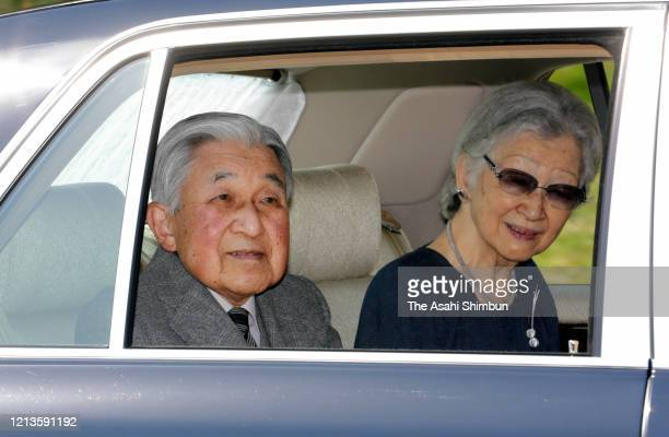 Emperor Emeritus Akihito and Empress Emerita Michiko move out of the main Imperial Palace on March 19 2020 in Tokyo Japan The Emperor Emeritus and...