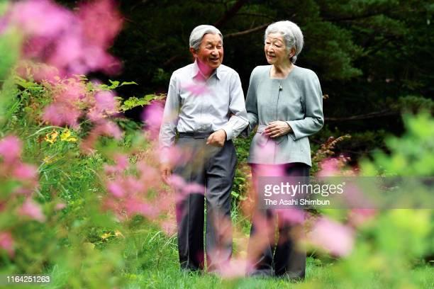 Emperor Emeritus Akihito and Empress Emerita Michiko stroll at the Nasu Imperial Villa on July 25 2019 in Nasu Tochigi Japan