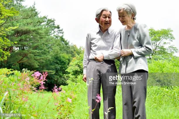 Emperor Emeritus Akihito and Empress Emerita Michiko stroll at the Nasu Imperial Villa on July 25, 2019 in Nasu, Tochigi, Japan.