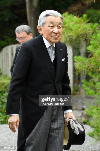 Emperor Emeritus Akihito visits the mausoleum of Emperor Komei on June 12, 2019 in Kyoto, Japan.