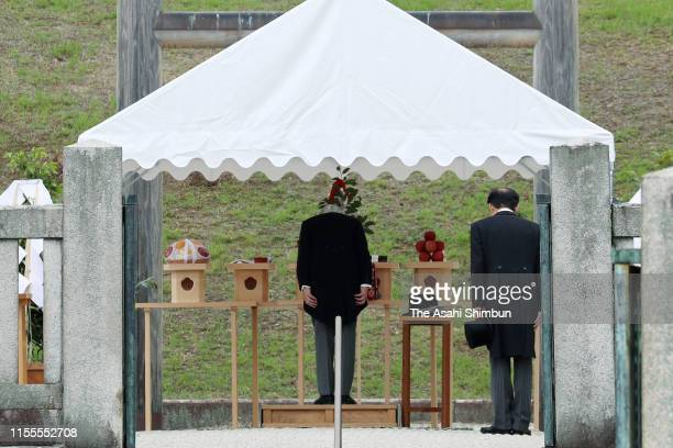 Emperor Emeritus Akihito visits the mausoleum of Emperor Meiji on June 12, 2019 in Kyoto, Japan.