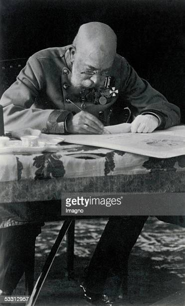 Emperor Francis Joseph I. Of Austria sitting at his desk. Around 1915. Photography. [Kaiser Franz Joseph I. Von Oesterreich am Schreibtisch. Um 1915....