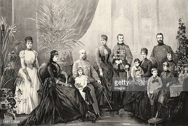 Emperor Franz Joseph and Empress Elisabeth with their family Crown prince Rudolf and crown princess Stephanie archduchess Gisela and prince Leopold...