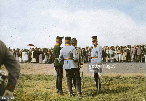 Emperor Franz Joseph I. And some generals at the annually military review in spring. Auf der Schmelz. Vienna, 15th district. Hand-colored lantern...